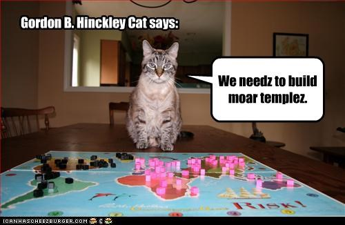 Gordon B. Hinckley Cat says: We needz to build moar templez.