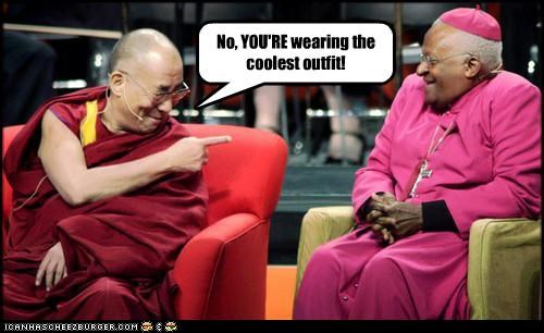 Archbishop Desmond Tutu,costume,Dalai Lama,religion,uniforms