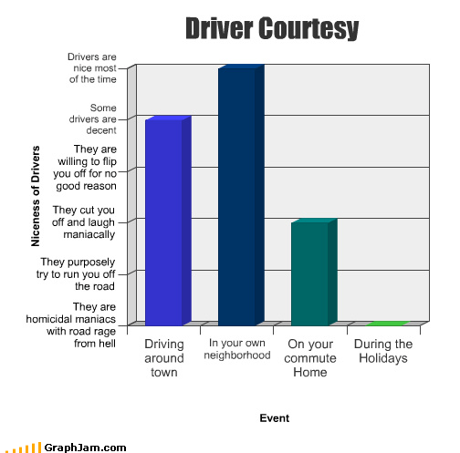 Bar Graph,commute,courtesy,driver,holidays,home,neighborhood,nice,own,road rage,town