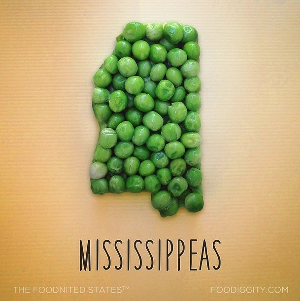 Photos of US states made of food puns