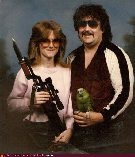 awkward photo,birds,couple,guns,wtf