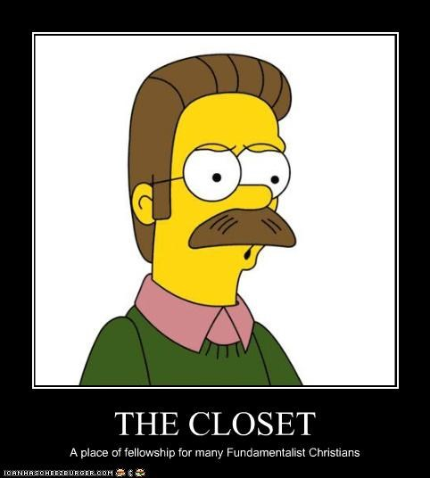 gay in the closet ned flanders the simpsons - 2986708736