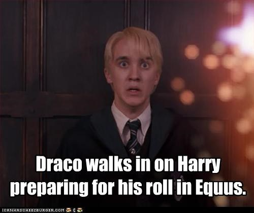 Draco walks in on Harry preparing for his roll in Equus.