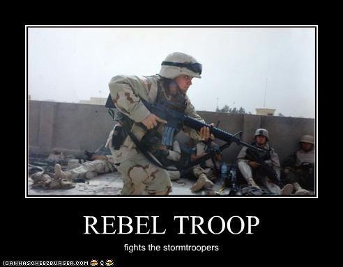REBEL TROOP fights the stormtroopers