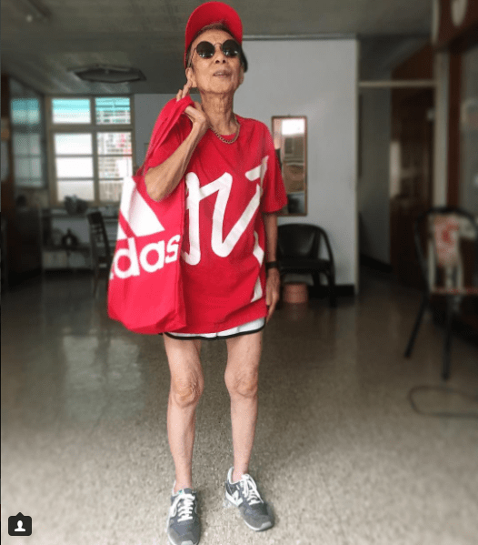 old lady from Taiwan with unique style