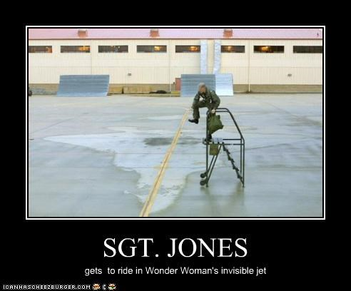 SGT. JONES gets to ride in Wonder Woman's invisible jet