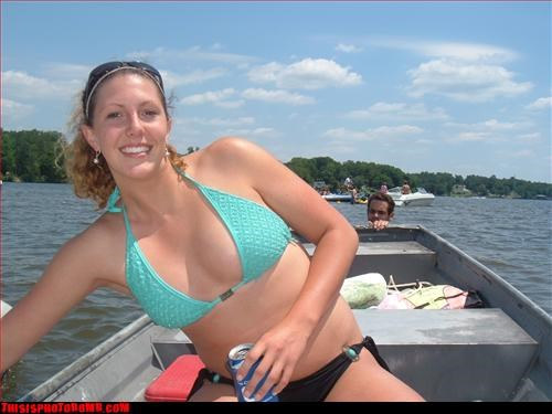 Awkward bikini creepy from water lake