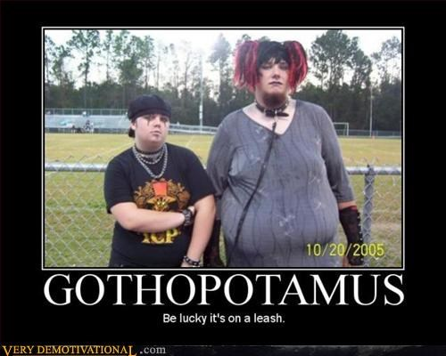 goth,gross,hippo,leash,Terrifying