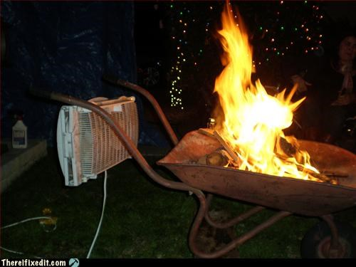 bonfire,fan,fire hazard,wheelbarrow