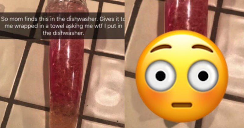 Worried mom thinks that she found her daughter's dildo in the dishwasher.