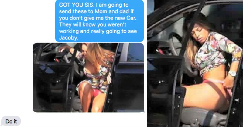 Creepy brother blackmails his sister after catching her changing in her car.