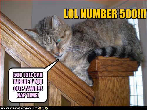 LOL NUMBER 500!!! 500 LOLZ CAN WHERE A YOU OUT. YAWN!!! NAP TIME!