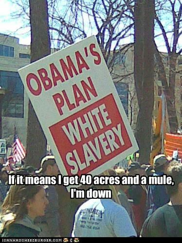 barack obama democrats president protesters signs slavery teabaggers - 3021476096