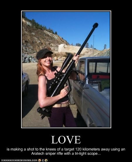 LOVE is making a shot to the knees of a target 120 kilometers away using an Aratech sniper rifle with a tri-light scope...