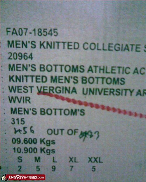 Gender fail Men's bottoms with vergina... interesting