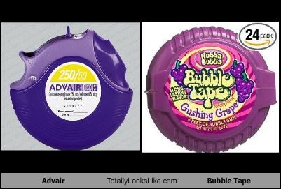 advair bubble tape gum image medicine packaging
