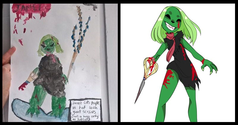 Collection of fan art of Janet the superhero who is a hero only to herself.