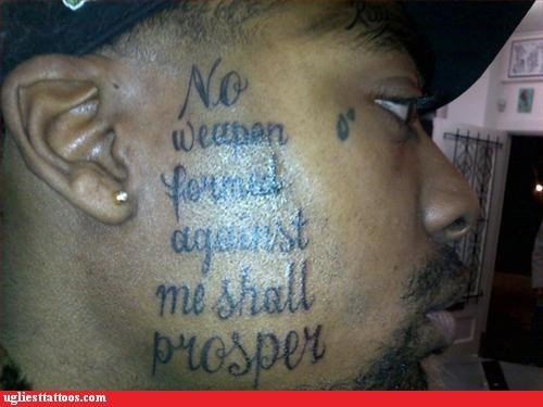 face tats,prison tats,religion,words
