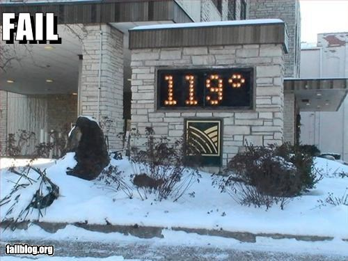 bank,cold,g rated,hot,signs,snow,temperature,weather