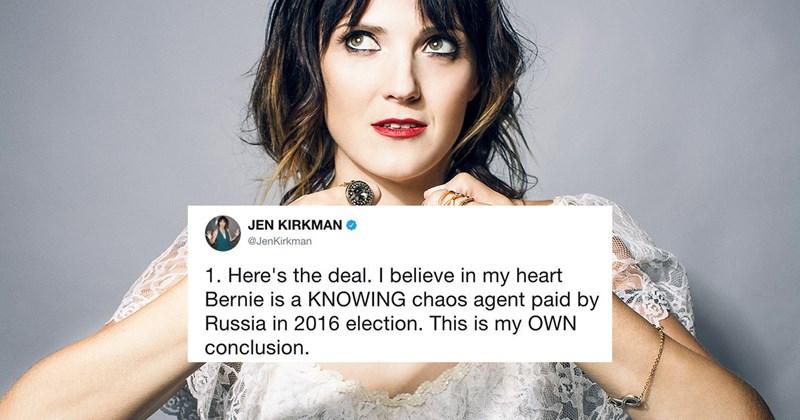 Funny Twitter memes about Jen Kirkman's Bernie Sanders conspiracy theory tweet.