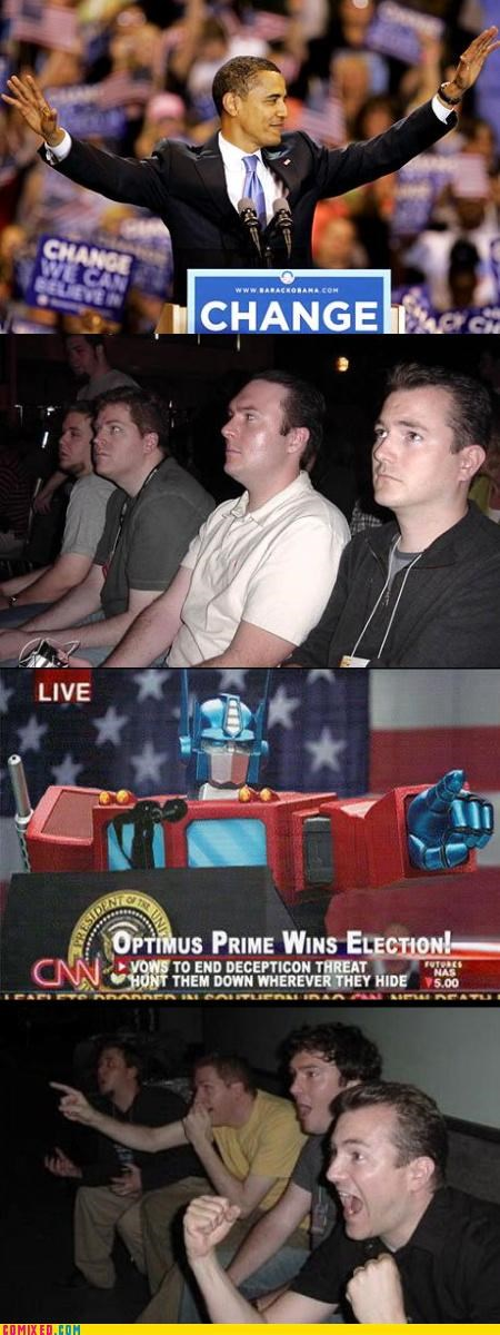 Decepticons Cannot Come To Power From the Movies obama reaction guys Real Change Begins With You robots transformers - 3041036544