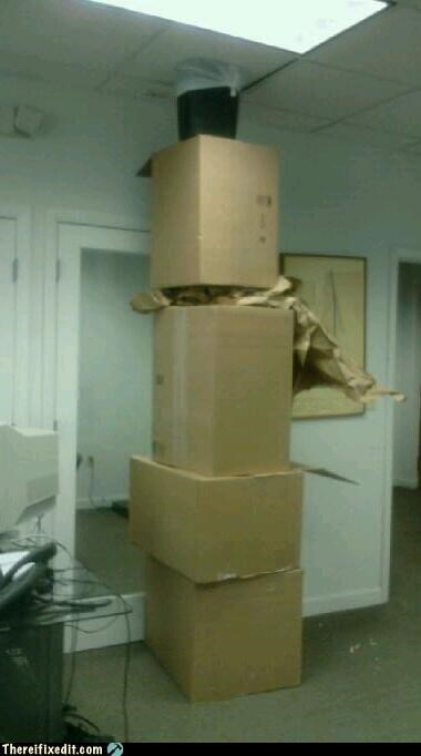 cardboard boxes,in case of fire,Mission Improbable,office upkeep