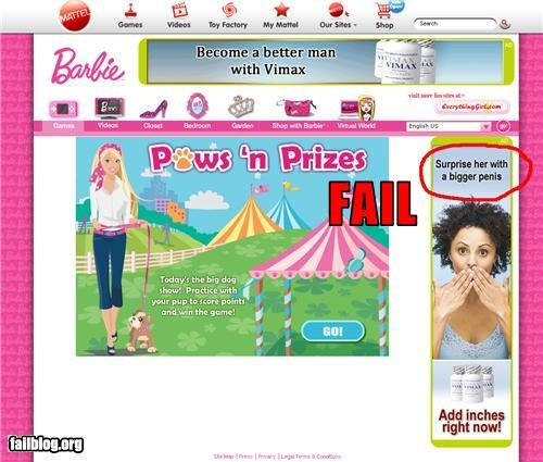 ads Barbie failboat juxtaposition online games p33n