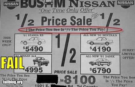 cars failboat g rated half price newspaper sale sales trickery - 3051562496