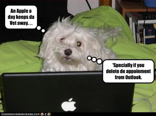 An Apple a day keeps da Vet away. . . 'Specially if you delete de appoinment from Outlook.