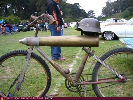 World War 2 Bike made out of expended shells and bike helmet.