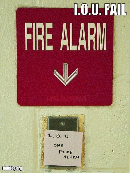 fire alarm g rated IOU note signs - 3057925376