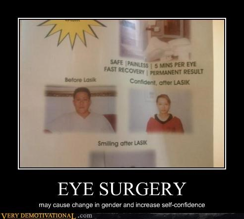 EYE SURGERY may cause change in gender and increase self-confidence