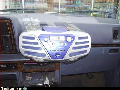 car CD player mod packing tape