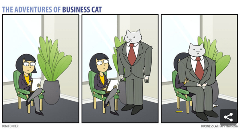 a comic of a cat sitting down on a person when there are other seats - cover for a bunch of comics of a business cat