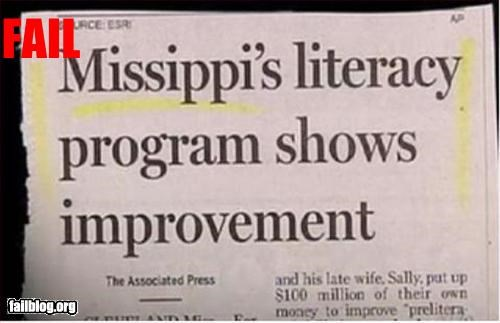 classic failboat irony literacy mississippi newspaper spelling states