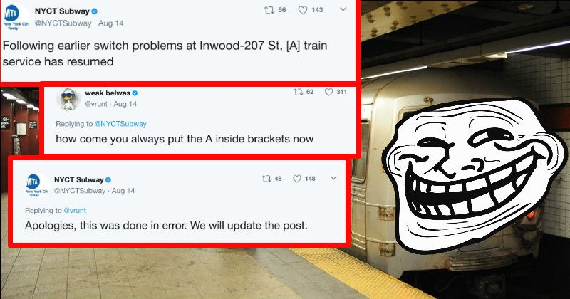 NYC Subway handles a complaint about their Twitter spelling with the perfect kind of trolling.