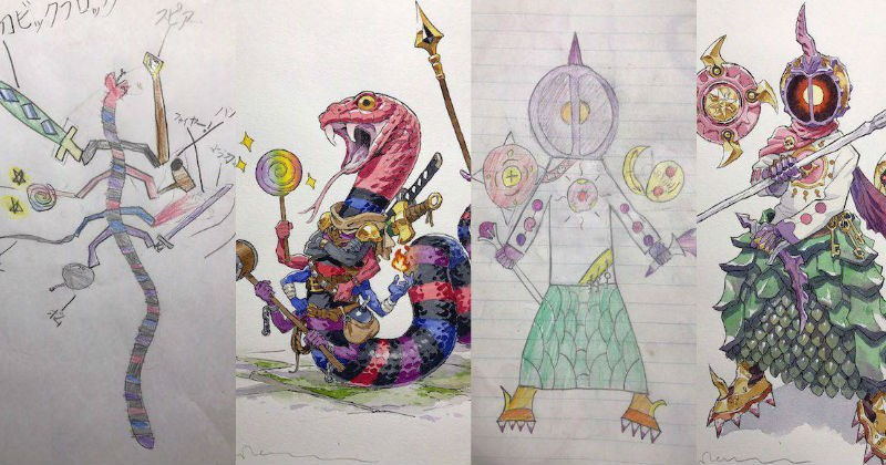 Talented dad redraws his young son's drawings into 30 pieces of epic anime art.
