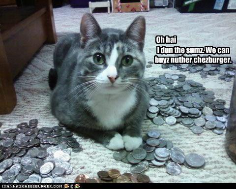 Oh hai I dun the sumz. We can buyz nuther chezburger.