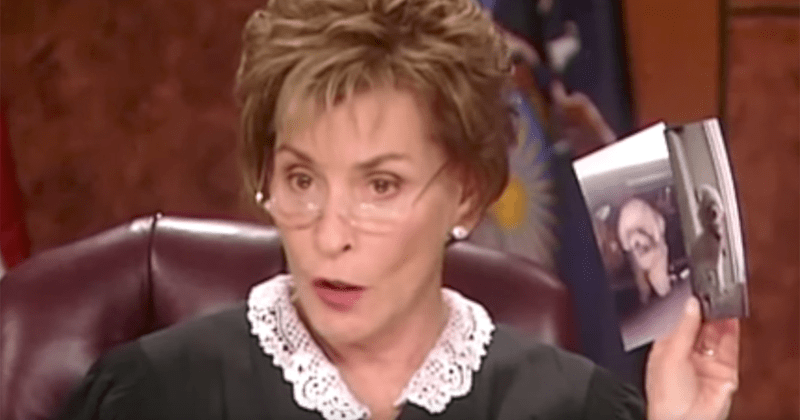 a photo of judge judy holding another photo of a white small dog that is in question - cover for a story of a couple in a custody battle for their dog