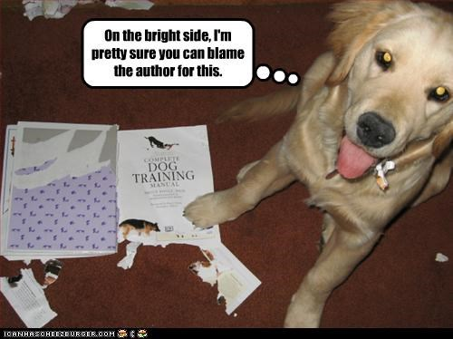 author,books,destroyed,golden retriever,trainer,training
