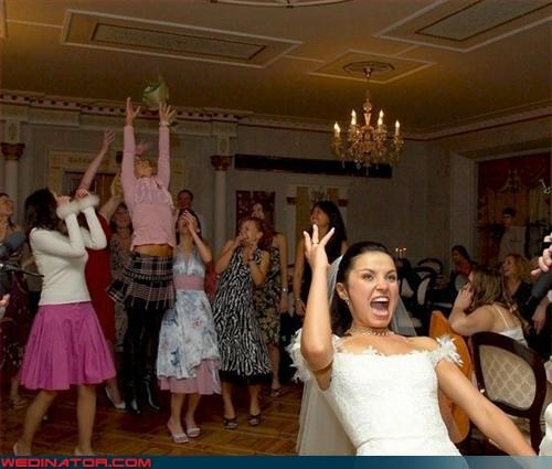 bouquet toss,bride,fashion is my passion,jumping for joy,new heights,pole vaulter,surprise,tricks,Wedding Themes