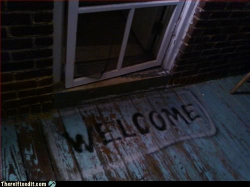 curb appeal spray paint welcome mat - 3088114944