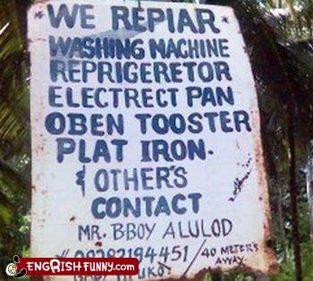 engrish repair sign WoW - 3093050880