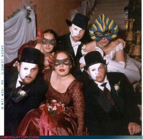 bride,confusing,cross eyed,fashion is my passion,funny wedding party picture,funny wedding photos,groom,masks,masquerade wedding,masquerade wedding ball,miscellaneous-oops,technical difficulties,wedding party,Wedding Themes
