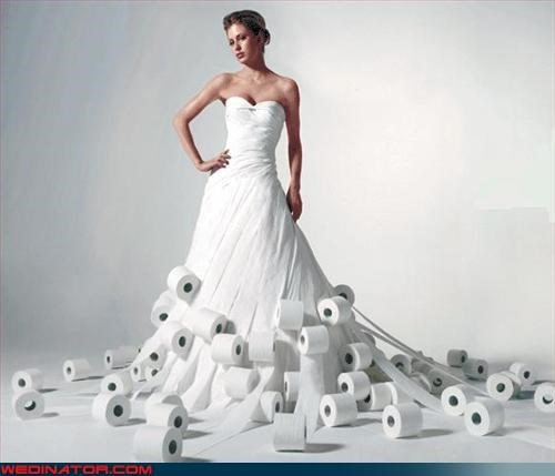 carbon footprint,Crazy Brides,fashion is my passion,paper dress,Sneeze Attack,surprise,TP,Wedding Themes,White Wedding