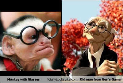 Geri geris-game glasses monkey old man pixar shorts
