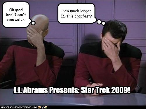 Oh good lord, I can't even watch. How much longer IS this crapfest? J.J. Abrams Presents: Star Trek 2009!