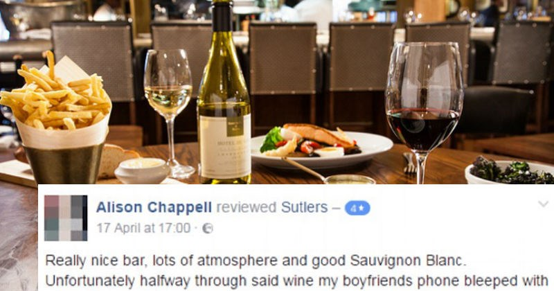 Woman leaves restaurant review about her cheating lying boyfriend on Facebook.