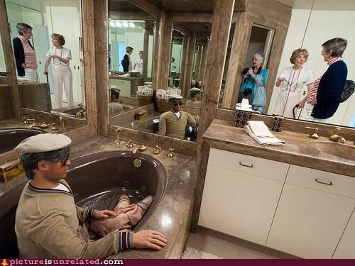 bathroom,Mannequins,sailor,tub,wtf