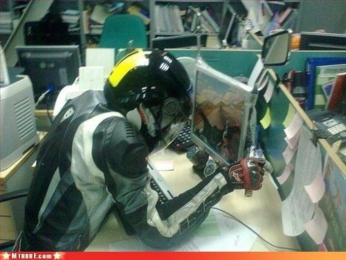 cubicle boredom cubicle prank ergonomics motorcycle overcompensating vroom wackjob wiseass - 3109737984
